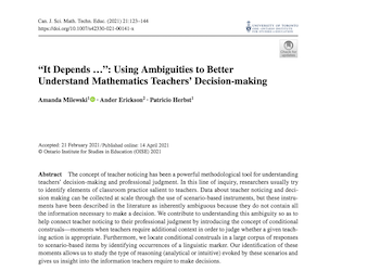 Article published in Canadian Journal of Science, Mathematics